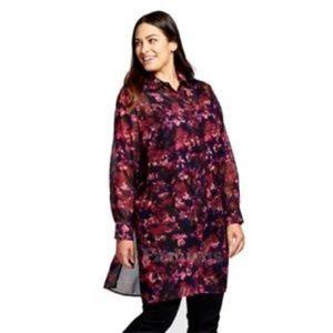 Ava & Viv Floral Sheer Tunic Top Purple Size 2x